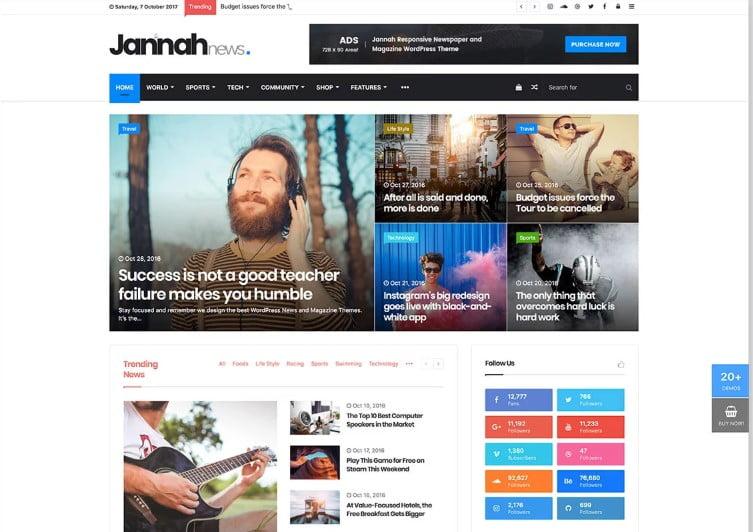 Jannah - Top 60+ News Magazine WordPress Themes [year]