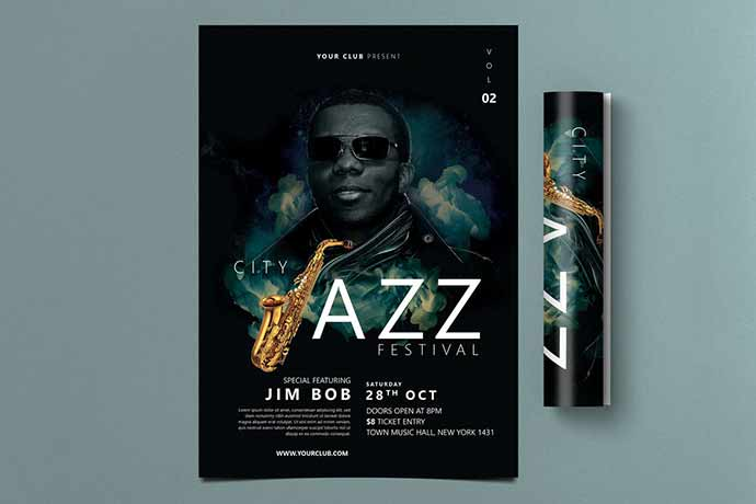Jazz-Festival-Flyer - 35+ Attractive Double Exposure PSD Flyer Design [year]