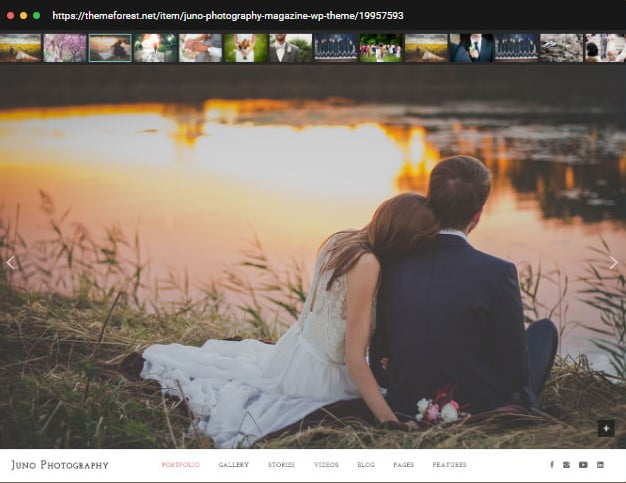 Juno - 30+ Wedding Photography WordPress Themes [year]