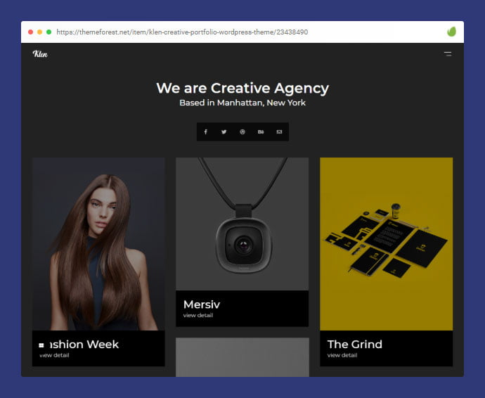 Klen - 35+ Minimal WordPress Theme Designs For Creatives [year]
