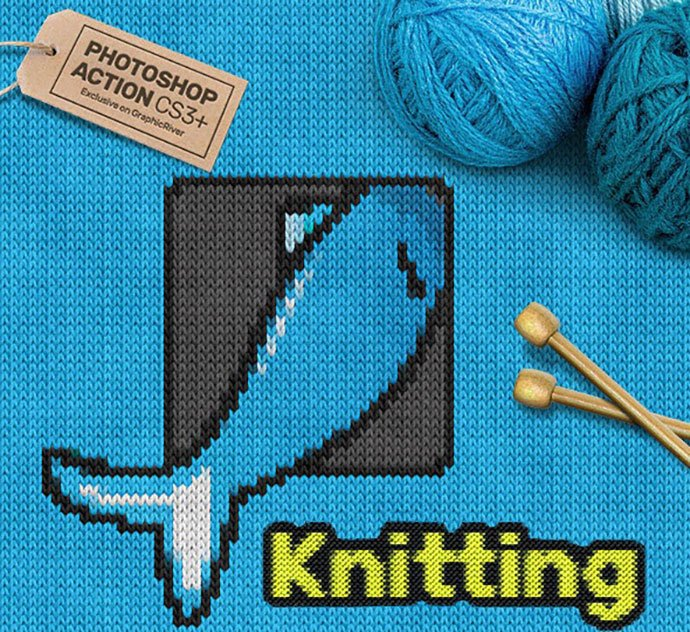 Knitting-CS3-Photoshop-Action - 30+ Embroidery Effect Photoshop Actions & Brushes