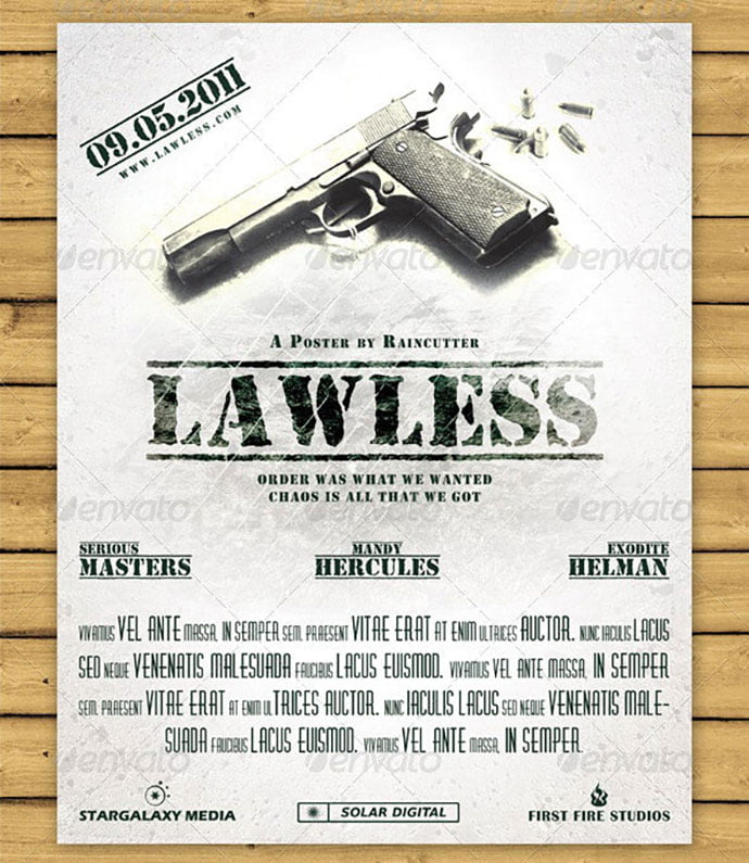 Lawless-Movie-Style-PosterFlyer - 35+ Nice PSD Movie Poster Design Templates [year]