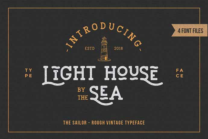LightHouse-Sailor-Rough-Typeface - 52+ Wonderful Fonts for Calligraphy Logo Design [year]