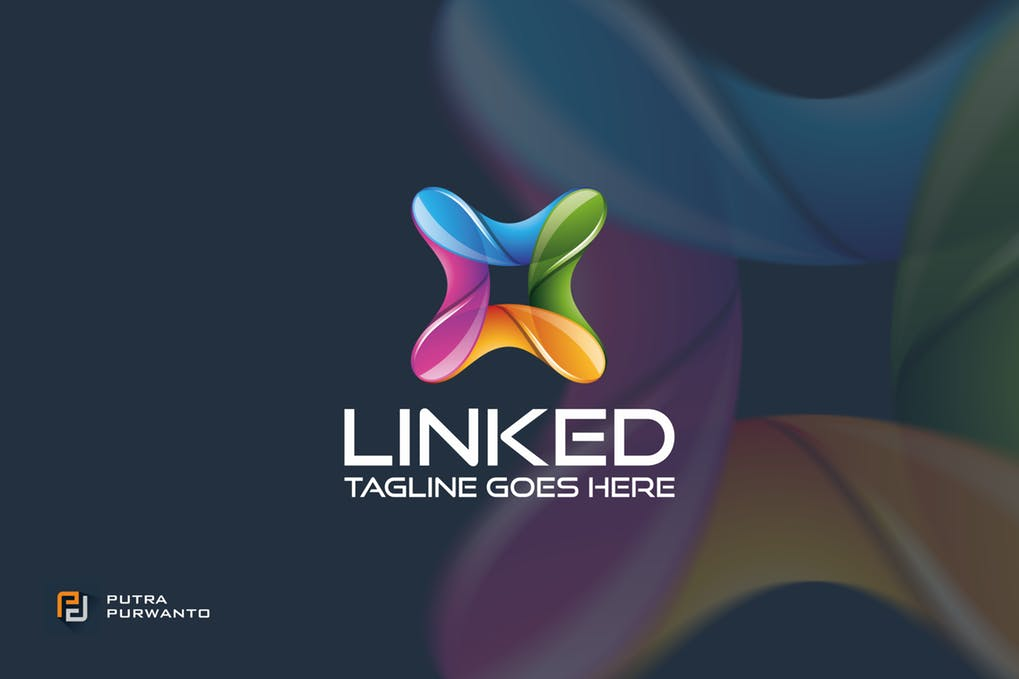 Linked-Logo-Template - 35+ Glamor 3D Flat Logo Design Templates