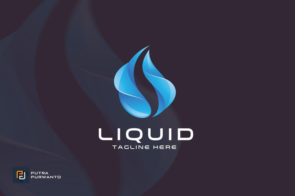 Liquid-Logo-Template - 35+ Glamor 3D Flat Logo Design Templates