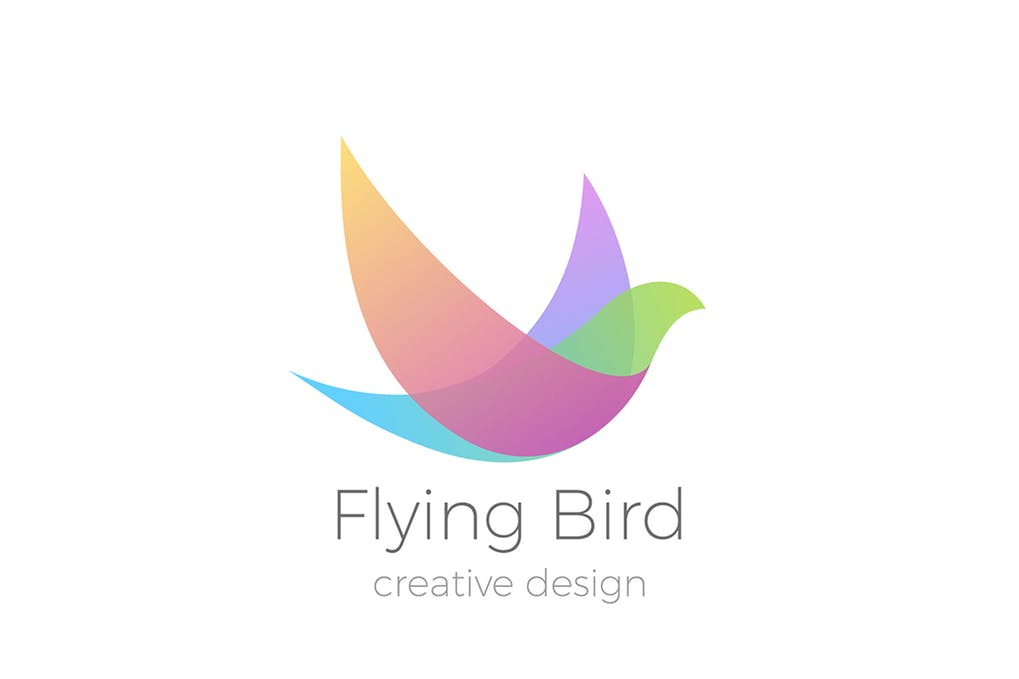 Logo-Flying-Bird-Swallow-Dove-Colorful - 35+ Glamor 3D Flat Logo Design Templates [year]