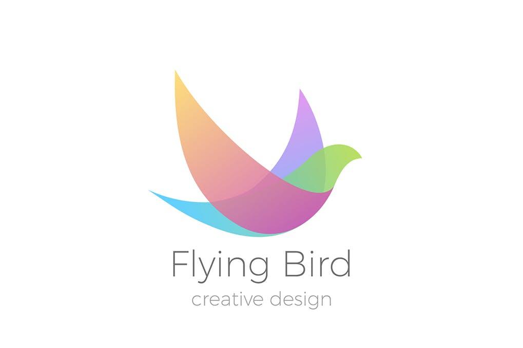 Logo-Flying-Bird-Swallow-Dove-Colorful - 35+ Glamor 3D Flat Logo Design Templates