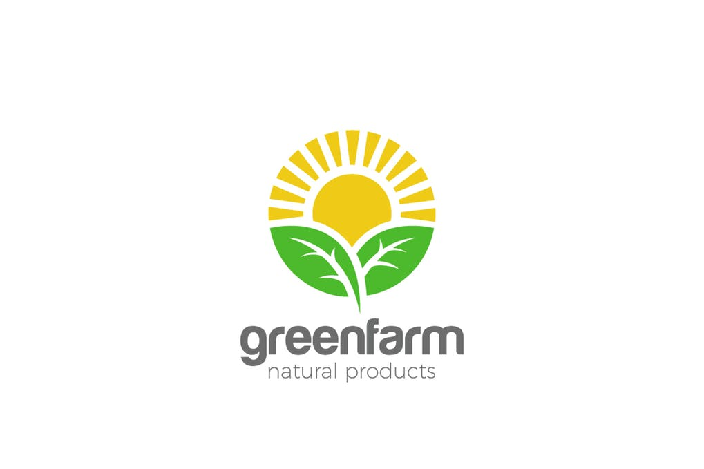 Logo-Sun-Green-Organic-Eco-Natural-Farm-products - 60+ Strong Tree Logo Design Templates [year]