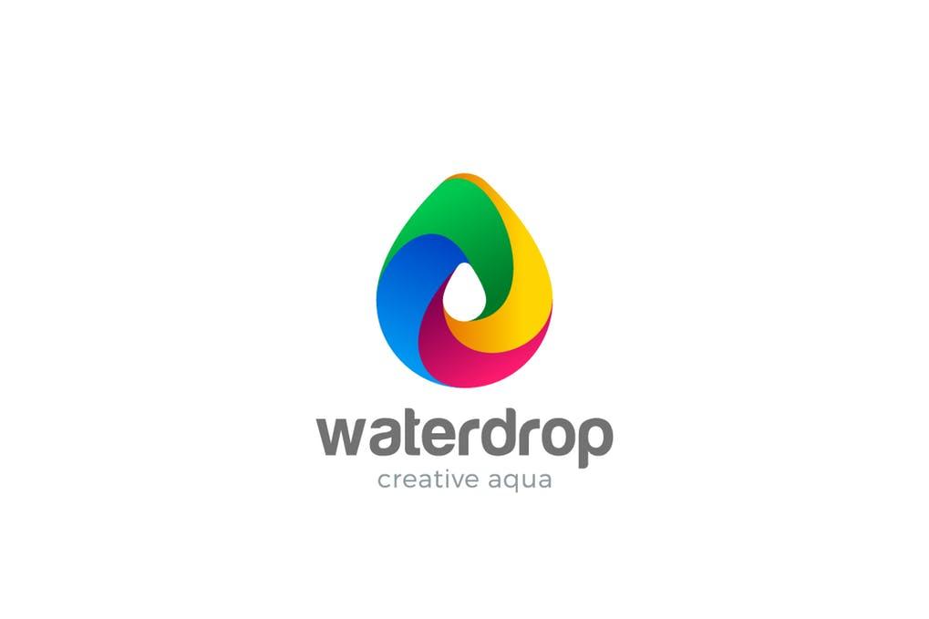 Logo-Water-Droplet-Colorful-Aqua-Drink-Drop - 35+ Glamor 3D Flat Logo Design Templates