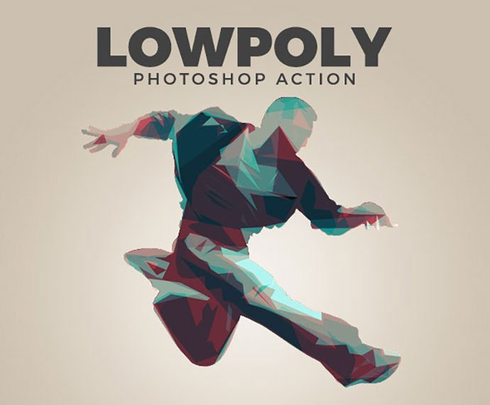 Low-Poly-Action - 30+ Amazing Portrait Photoshop Actions [year]