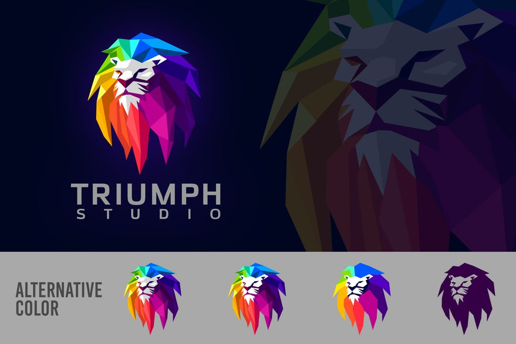 Low-Poly-Geometric-Colorful-Lion-Mascot-Logo - 35+ Glamor 3D Flat Logo Design Templates [year]