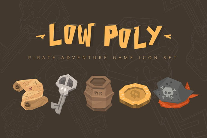 Low-Poly-Pirate-Adventures-Game-Icon-Set - 35+ Fantastic Game Icon Sets [year]