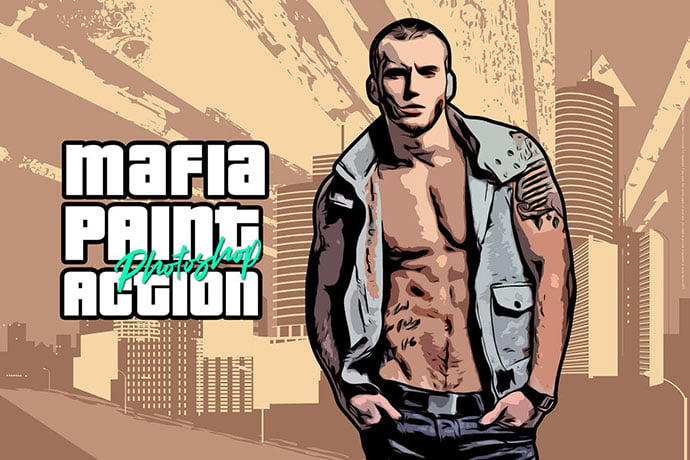 Mafia-Painting-Art-Photoshop-Action - 30+ Comic Style Photoshop Actions [year]