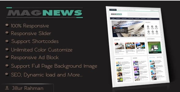 MagNews - 35+ Amazing One Page Inventive Blogger Template [year]