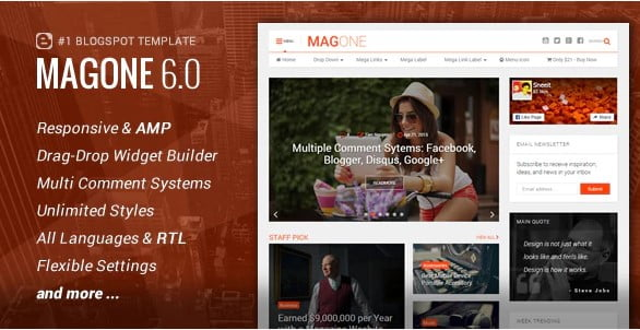 MagOne-2 - 35+ Awesome One Page Creative Blogger Template [year]