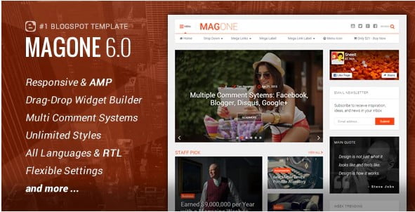 MagOne-3 - 35+ Amazing One Page Inventive Blogger Template [year]