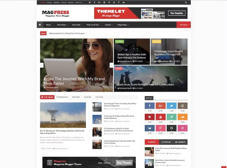 MagPress - 60+ Best Free Responsive News Blogger Templates [year]