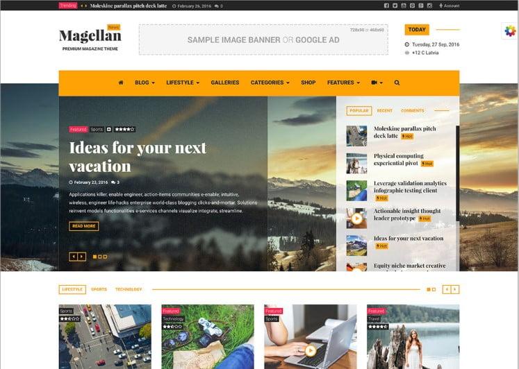 Magellan - Top 60+ News Magazine WordPress Themes [year]