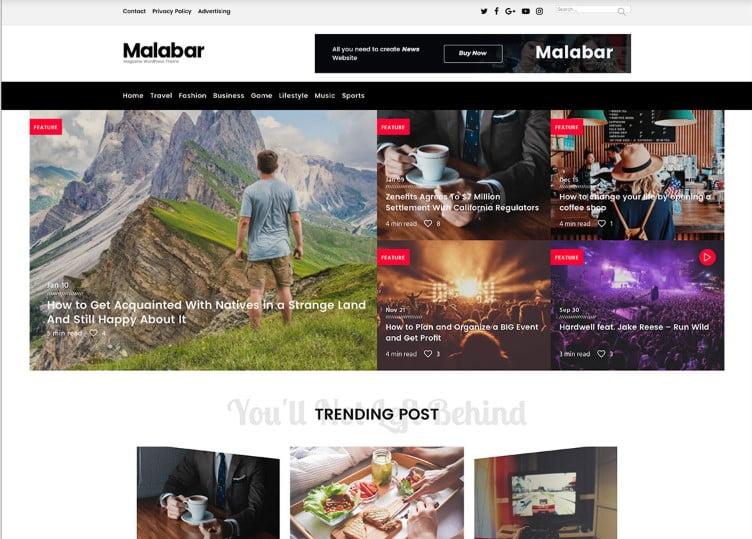 Malabar - Top 60+ News Magazine WordPress Themes [year]