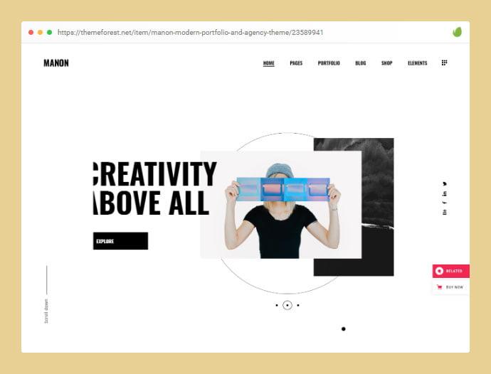 Manon - 35+ Minimal WordPress Theme Designs For Creatives [year]