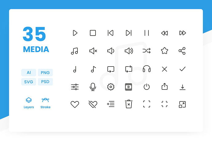 Media-Icons-Pack - 35+ Best Music & Sound Icon Sets [year]