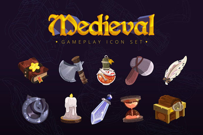 Medieval-Gameplay-Icon-Set - 35+ Fantastic Game Icon Sets [year]
