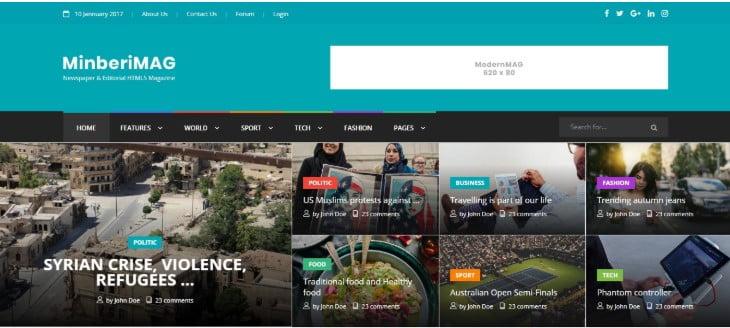 Minberi-Mag - 45+ Responsive News Website Templates [year]