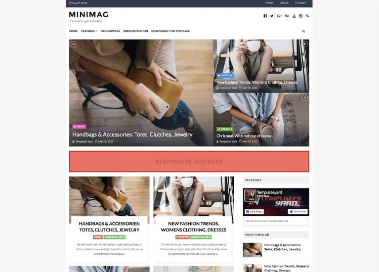 Minimag - 60+ Best Free Responsive News Blogger Templates [year]