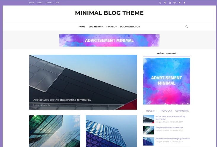 Minimal - 60+ Best Free Responsive News Blogger Templates [year]