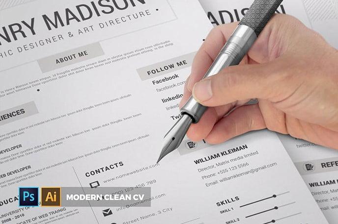 Modern-Clean - 35+ Stunning Black & White Resume Templates [year]