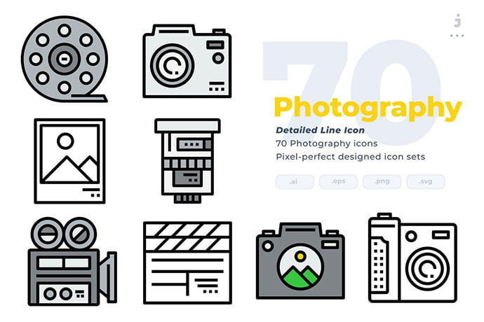 Modern-flat-icons-collection - 35+ Stunning Photography Icon Sets [year]