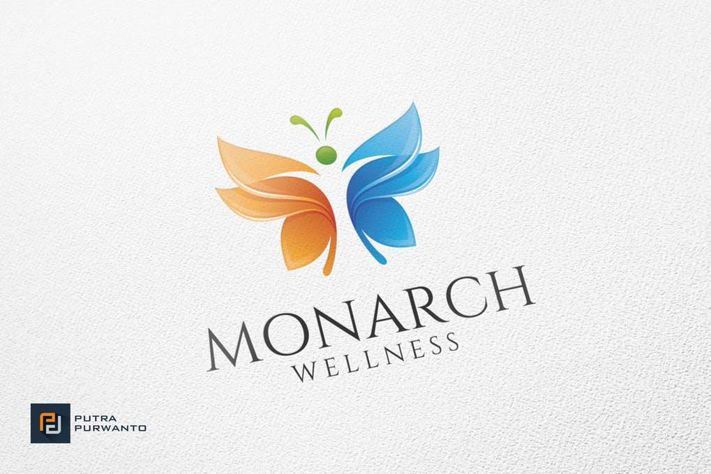 Monarch-Wellness-Logo-Template - 35+ Glamor 3D Flat Logo Design Templates