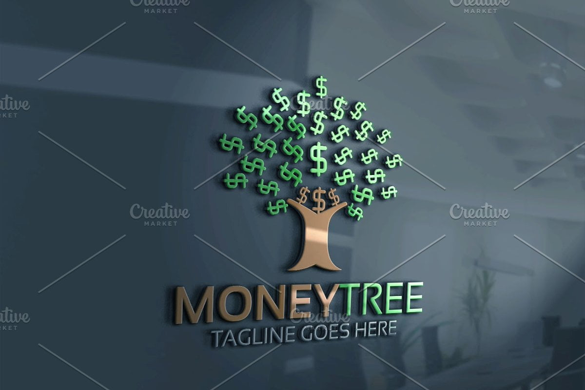 Money-Tree - 60+ Strong Tree Logo Design Templates [year]