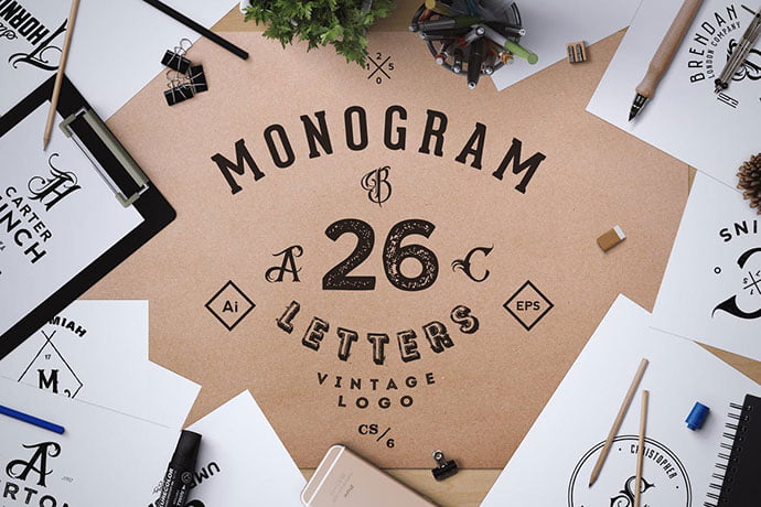 Monogram.-Abc-Vintage-Logos - 35+ Excellent Monogram Logo Design Templates
