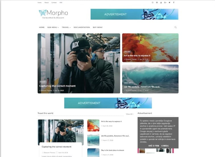 Morpho - 60+ Best Free Responsive News Blogger Templates [year]