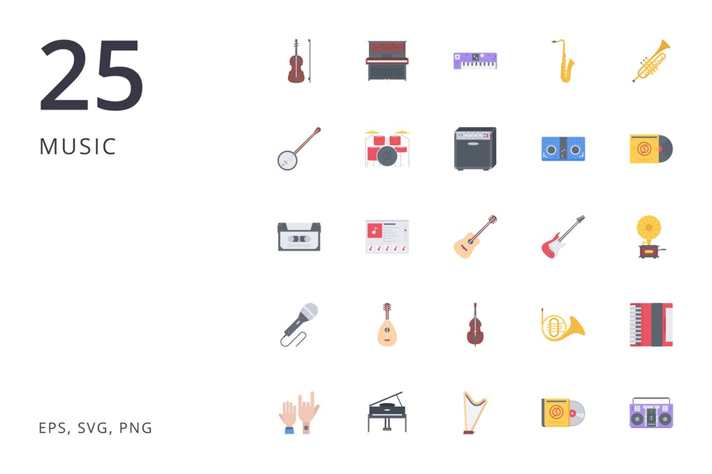 Music-25 - 35+ Best Music & Sound Icon Sets [year]
