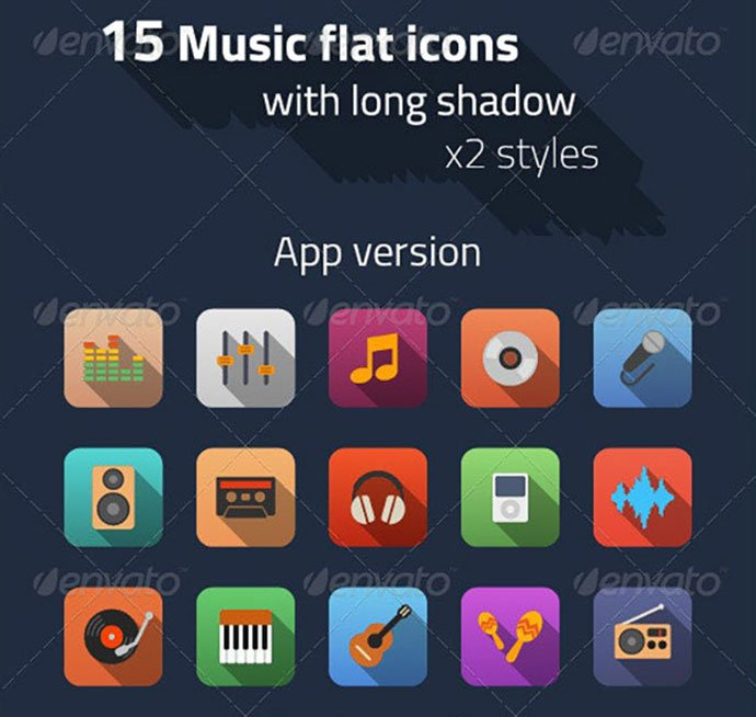 Music-Flat-Icons - 35+ Best Music & Sound Icon Sets [year]