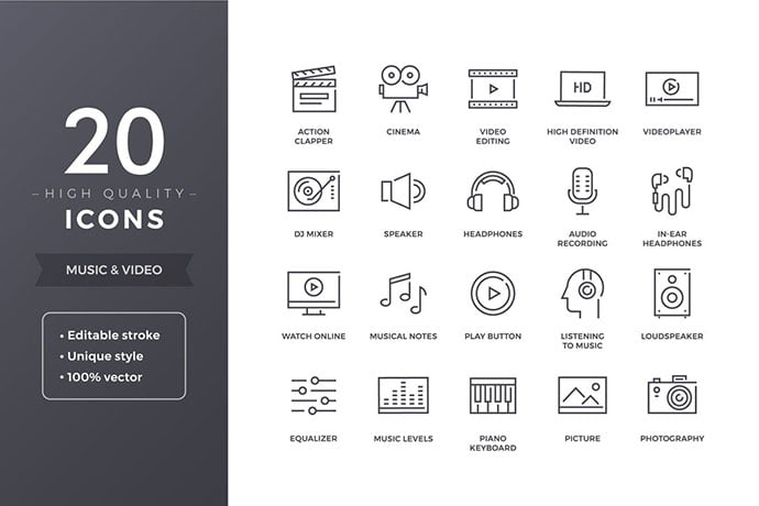 Music-and-Video-Icons - 35+ Best Music & Sound Icon Sets [year]