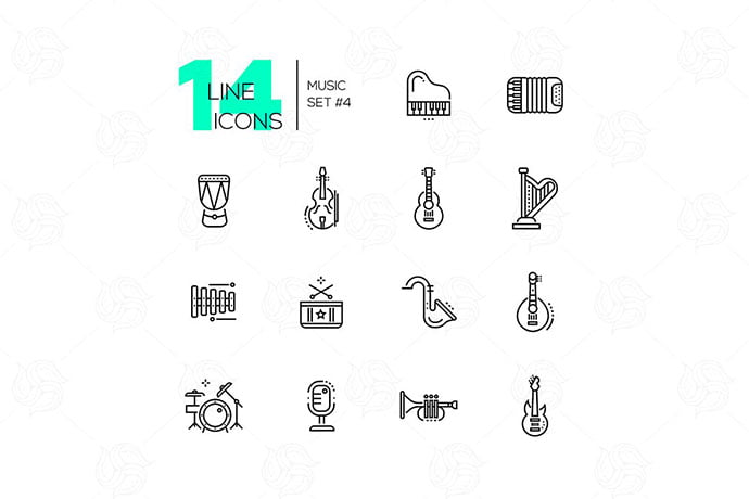 Musical-Instruments-line-design-style-icons-set - 35+ Best Music & Sound Icon Sets [year]