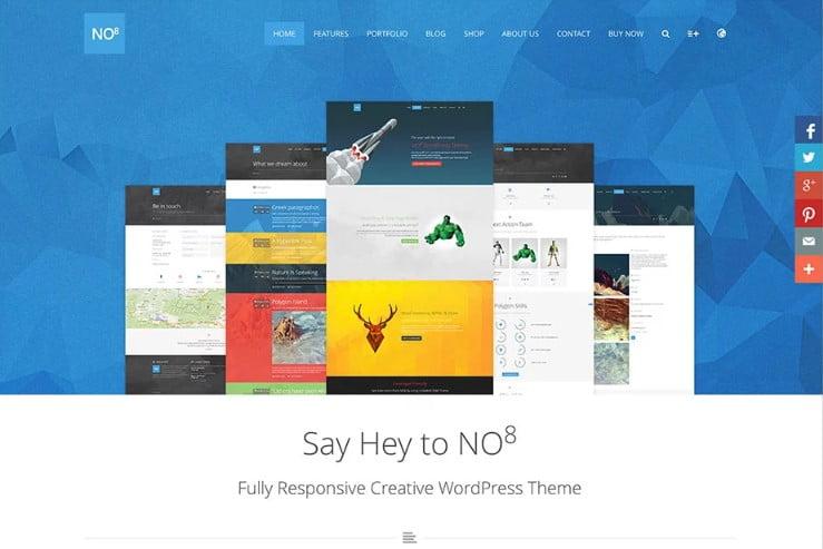 NO8 - 38+ Shiny WordPress Themes for Designers [year]