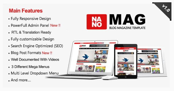 NanoMag - 35+ Best Stunning Blogger One Page Template [year]