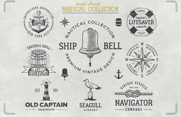 Nautical-Badges-Collection - 30+ Amazing Hand Drawn Badge Logo Design Templates [year]