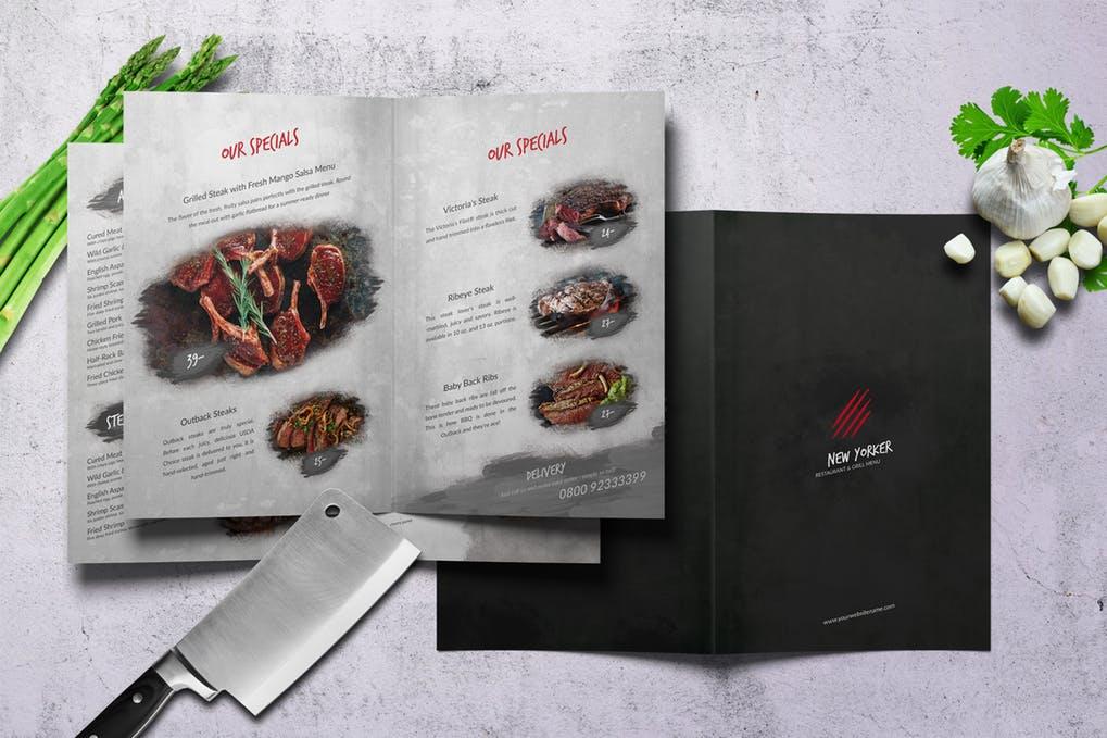 New-Yorker-Bifold-A4-US-Letter-Food-Menu - 60+ Bi-fold & Tri-fold Brochure Design Templates [year]