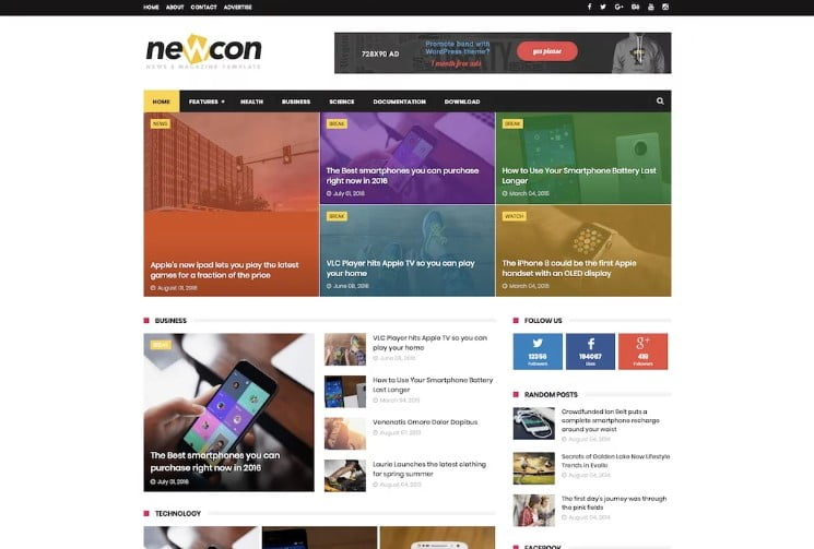 Newcon - 60+ Best Free Responsive News Blogger Templates [year]