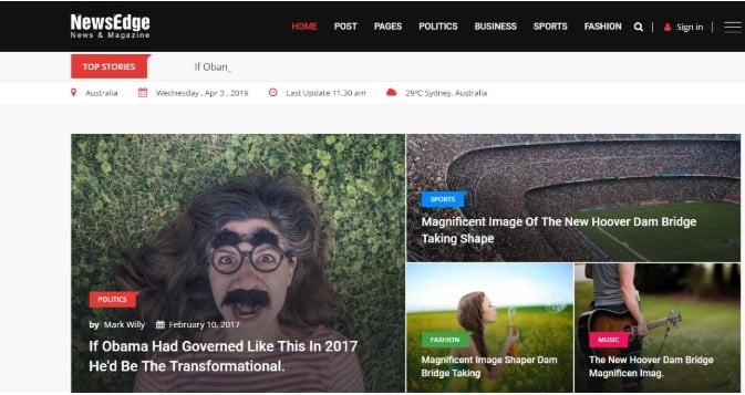 NewsEdge-1 - 45+ Responsive News Website Templates [year]