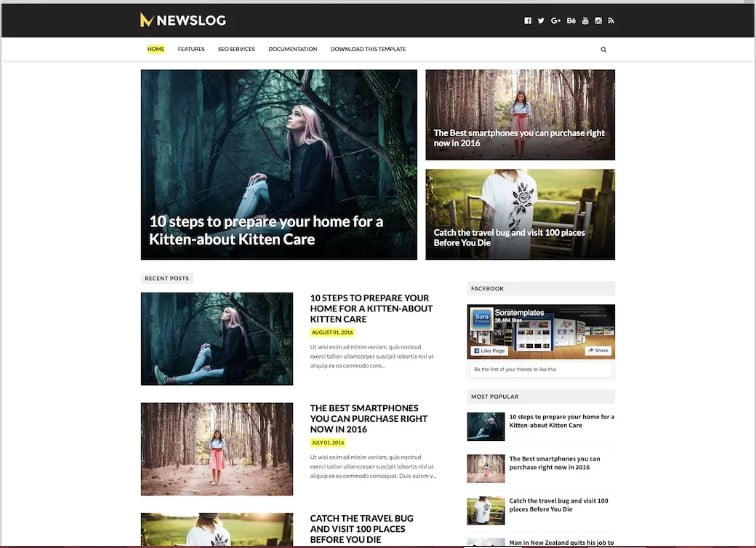 NewsLog - 60+ Best Free Responsive News Blogger Templates [year]