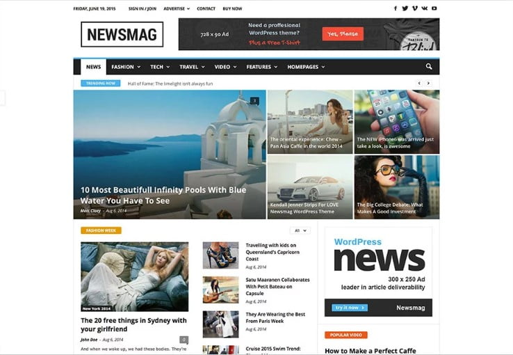 Newsmag-1 - 46+ Best WordPress Newspaper Themes for News Sites [year]