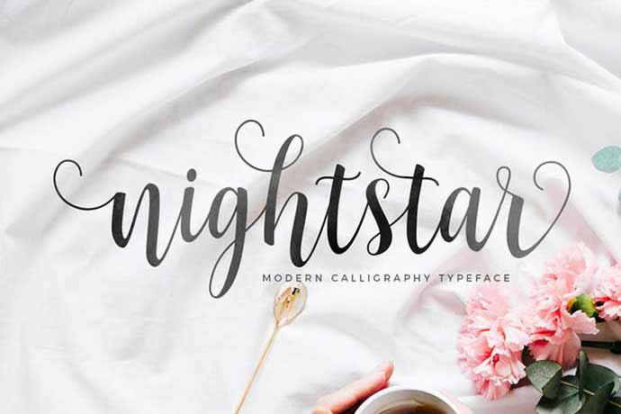 Nightstar-Script - 52+ Wonderful Fonts for Calligraphy Logo Design [year]