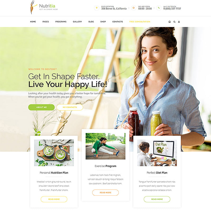 Nutritia-healthy-nutrition-and-dietology-WordPress-Theme - 10+ Best WordPress Blog Themes For Your Website [year]