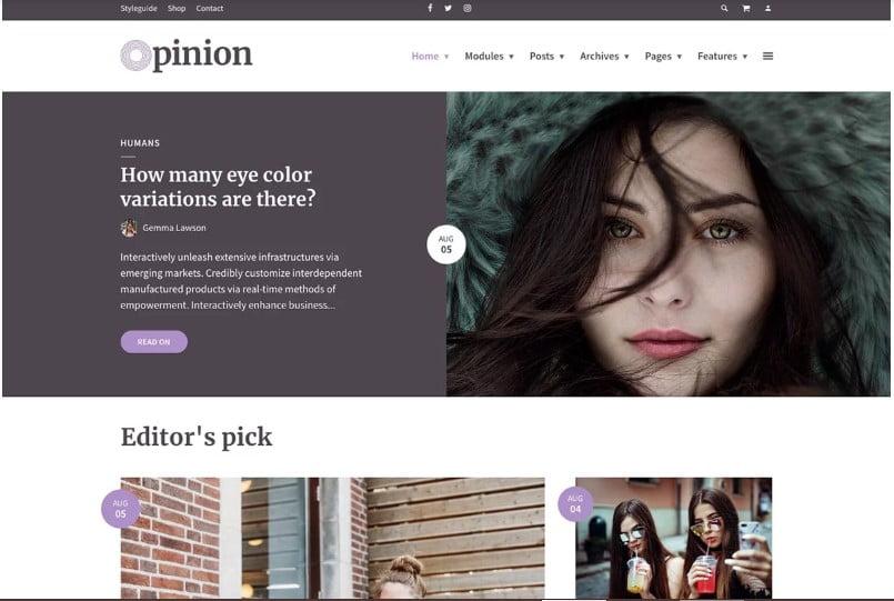 Opinion - Top 60+ News Magazine WordPress Themes [year]